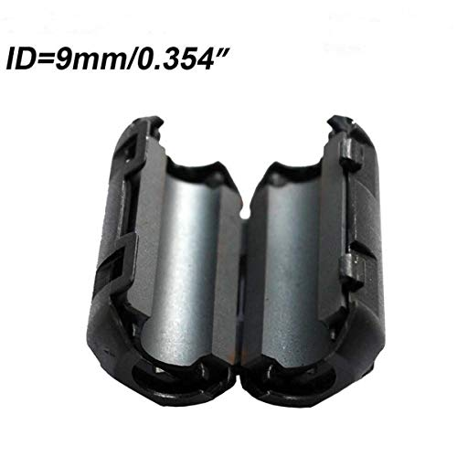10ea Inner 9mm 0.35Clip Filter ferrite Bead clamp Choke Ring for Audio/Video Cable or Power Cord Black Color