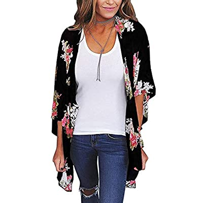 Tops for Womens Kimono Beach Cover Up Floral Cardigan Chiffon Loose Capes at Women's Clothing store