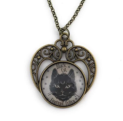 Black Cat Fortune Teller Necklace Brass -