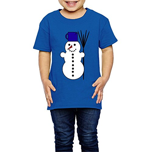 Snowman Children's Comfortable Beautiful 100% Cotton High Absorbent Short Sleeve Round Collar Boy Shirt Casual T-shir 2T-6T