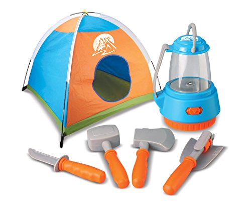 World Tech Toys Outdoor Explorer 6 Piece Camping Playset with Tent, Multi Color, 41 x 39 x 31