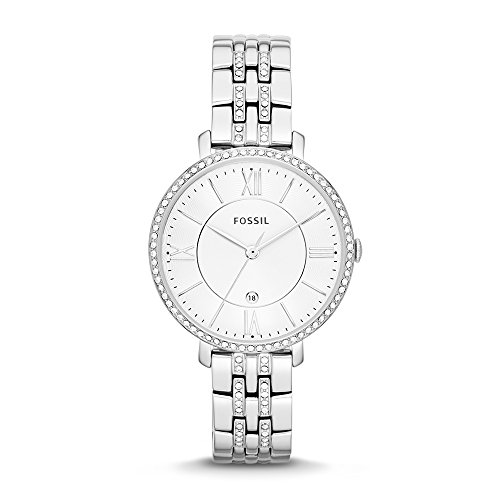 Fossil Women's Jacqueline Quartz Stainless Steel Dress Watch, Color: Silver-Tone (Model: (Fossil Womens Crystal Watch)