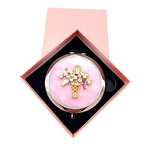Lirener Vintage Compact Round Purse Folding Makeup Mirror(Flower Design), Double-Sided with Magnifying & Regular Mirror, Elegant & Chic Antique Mini Pocket Mirror for Women Girls Idea
