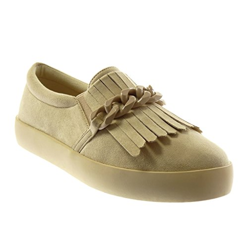 Angkorly Absatz Ketten Sohle Damenmode Flacher Fransen 2 cm Schuhe Mokassins Sneaker Schuhe Beige 5 rrBpg