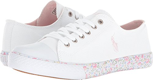 Polo Ralph Lauren Kids Girl's Slone (Big Kid) White Canvas/Light Pink Pony Player/Printed Floral Foxing 4.5 M US Big - Us Polo Ralph Is Lauren