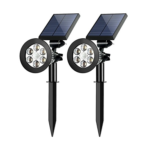 Solar Spotlights Outdoor,Upgraded OPERNEE Motion Sensor Solar Powered Security 6 LED Landscape Light, Auto On/Off Waterproof Wall Tree Light for Patio Porch Path Deck Garden Garage Driveway (2-pack)