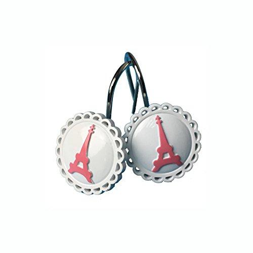 TGBack Paris Eiffel Tower Resin Shower Curtain Hooks Rings,Pink (Resin Shower Curtain Hooks)