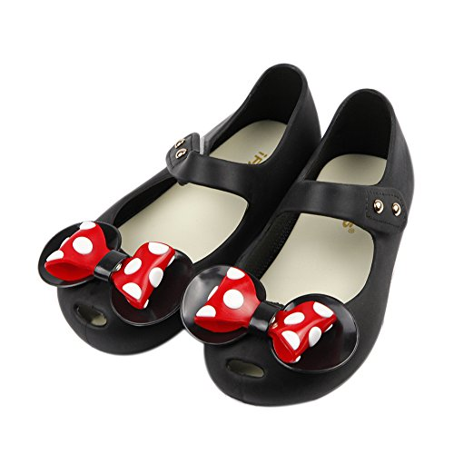 iFANS Girls Sweet Dot Bow Princess Sandals Shoes Mary Jane Flats for Toddler/Little Kid Black ()