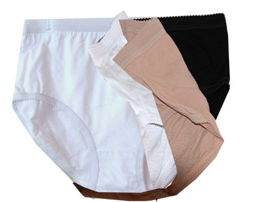 Delta Burke Soft Cotton Breezy Full Brief Style Panties Set of 3 (Size 8, Solid Nude - White - Black 3 ()