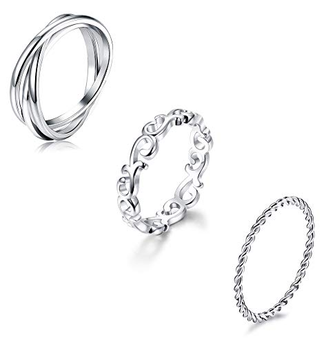 YADOCA 3 Pcs Stainless Steel Rings for Women Girls Stackable Eternity Ring Celtic Knot Triple Band Rings Fit Size 4-12