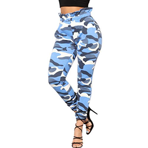 Pantalones Mujer, ASHOP Ejército Militar Pantalones Anchos Vaqueros Ocio Estilo Jeans Boho de Impreso Cintura de Cordón Pantalón Fitness Leggings de Yoga de Cintura Alta Azul