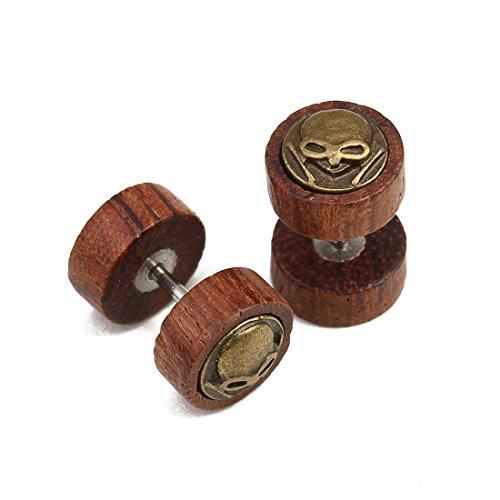 Lion Head Pin (Linsoir Beads Wood Stud Earrings Fake Ear Plugs with Skull/Lion Head/Frisbee/Tree of Life/Cross/Maple Leaf Emblem Post Earring Hypoallergenic Screw Pack of 2 Pairs)
