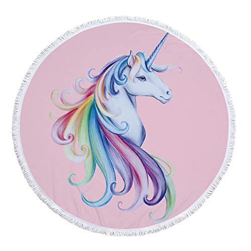 Amazon.com: Diameter 150cm Unicorn Pattern Round Beach Towel ...