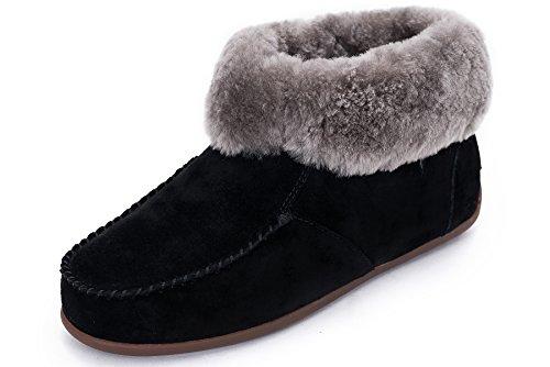 OZZEG femmes bottes chaudes fourrures chaussures cuir peau de mouton laine doublure (39.5, noir)