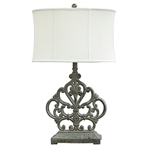 Scroll Table Antiqued Lamp - Ashley Furniture Signature Design - Broderick Poly Table Lamp with Oval Softback Shade - Traditional - Antique Brown Finish