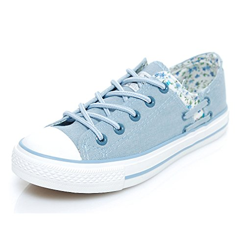 Mewow Daily Womens Teen-girls Low-top Lace-up Flat Floral Canvas Shoes Fashion Sneakers (7, light blue)