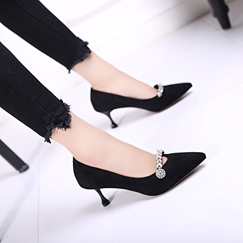 Shallow Sexy Suede With Lady Shoes MDRW Elegant All 7Cm Match Shoes Mouth Work Diamond Leisure High Tip 37 Fine Heeled Black Spring Fashion RO0xqOwP