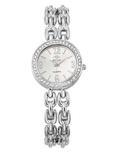 Realy Party Wear Diamond Studded Analogue Silver Dial Womens Watch – W1126SXZ