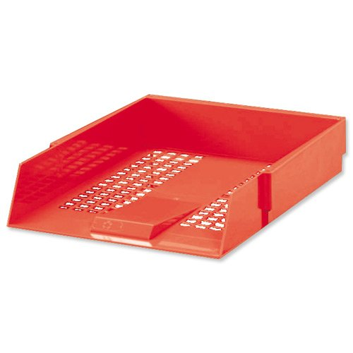 5 Star Letter Tray High-impact Polystyrene Foolscap Red