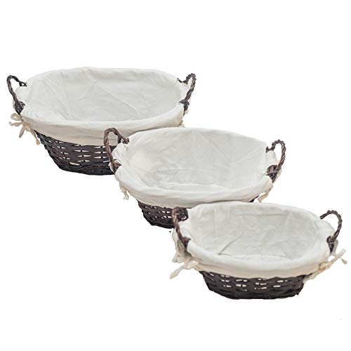 HDKJ Oval Handmade woodchip Storage Basket with Handle Set of 3 (Brown, Set of 3)