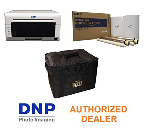 DNP DS820A Professional Photo Printer for 8x10 and 8x12 Prints - BUNDLE - with our exclusive PRINTERBAG Carrying Case and one box of DNP Pure Premium 8x10 media kit paper and ribbon (260 total prints) by DNP and Eventprinters