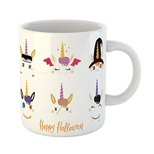 Emvency 11 Ounces Coffee Mug Orange Animal Halloween Cute Unicorn Faces Witch Vampire Zombie Frankenstein Devil Flat for Children Party Bat White Ceramic Glossy Tea Cup -