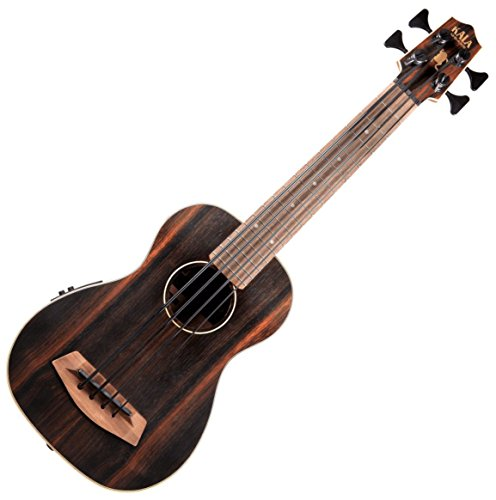 Kala UBASS EBY FS Acoustic Electric Bass Striped Ebony Fretted w Bag by Kala