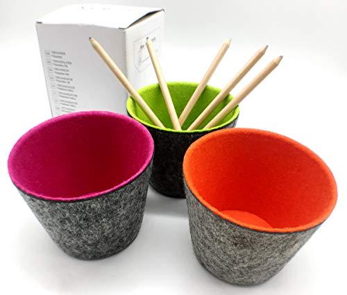 Welaxy Office Storage Bins Buckets Felt Desk Organizers Drawer dividers Round, Pack of 3 (Round x3, Spring Green +Orange +Raspberry)