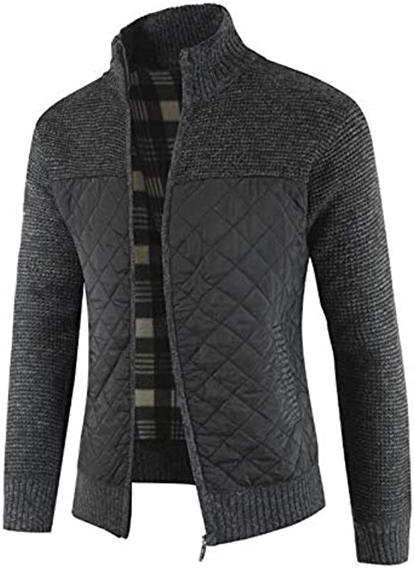 Męskie-Sweatshirts - Männer Gym Hoodie Męskie Schwarz Sweatshirt Pullover Herbst und Winter 2020 neuen Männer dicke Strickpullover Color Matching Cardigan Strickjacke ( Color : Black , Size : 3XL ): Küche &
