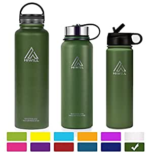 Hiwill Stainless Steel Insulated Water Bottle 2 Lids, Cold 24 Hours Hot 12 Hours, Double Wall Vacuum Thermos Flask, Travel Sports Leak Proof Metal Bottle with Straw, BPA Free (Army Green, 21 oz)