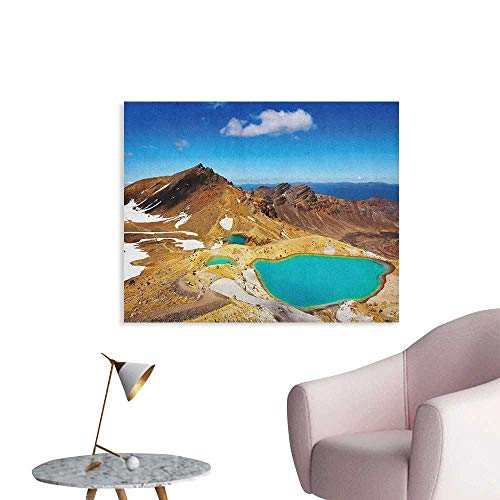 Anzhutwelve New Zealand Wallpaper Tongariro National Park Emerald Lakes and Mountains Natural Tourist Attractions Custom Poster Multicolor W36 xL24