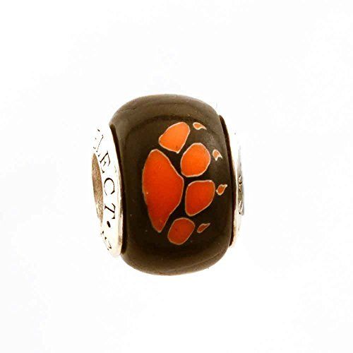 Orange Paw Print on Black for Add-A-Bead Bracelets Clay & Sterling Silver by MAYselect