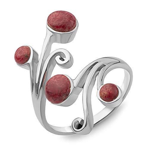 Sterling Silver Red Bamboo Sea Coral Vine Leaves Wrap around Band Ring Adjustable Size 6-10