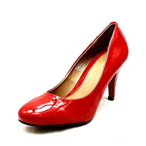 Damen runde Kappe niedrigen Ferse Pumps Red Patent