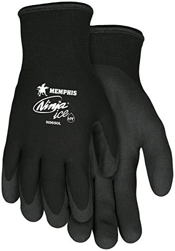 Memphis MCR Safety Ninja Ice 15 Gauge black nylon, HPT palm and fingertips Size XL 12-Pairs