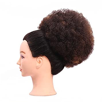 Afro Kinky Curly Fluffy Chignons Updo Hair Bun Parrucchino