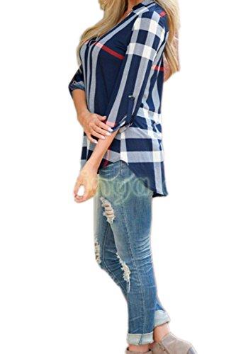 Camisa suelta de las mujeres con cuello en v 3/4 manga cuadros blusa larga de alta