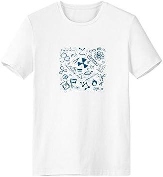 DIYthinker Azul Pintado a Mano Trazos Simples Estilo química física símbolo Escote de la Camiseta Blanca Primavera y el Verano de Tagless la Comodidad del algodón se Divierte Las Camisetas Regalo: Amazon.es: