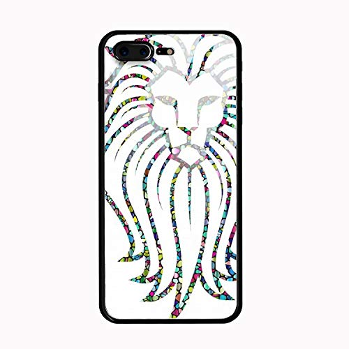 (iPhone 8 Plus Case, Silicone Shockproof Tempered Glass Mirror Back Cover Bumper Shell Compatible for iPhone 8 Plus,Polyprismatic Tiled Lion Face)
