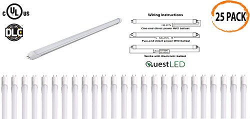 LED T8, T10, T12 Tube Light 4FT; 15W (36w Equivalent) 120-277V, Works WITH or WITHOUT Ballast, Single or Double Ended Powered; 1,950 Lumens; UL/DLC (Day Light 5000K)- 25 PACK by Quest