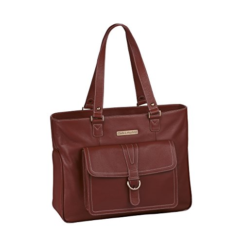 Clark & Mayfield Stafford Pro Leather Laptop Tote 17.3'' (Port Red) by Clark & Mayfield