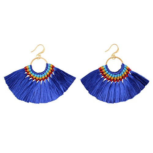 Tassel Braided Gold (Chunky Tassel Gold Color Metal Rope Braided Drop Earrings for Women Design Bohemain Statement (Royal Blue))