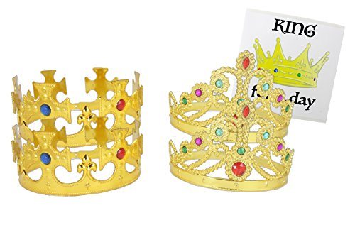 WellPackBox 4 Pack King Queen Party Costume Crown Gold, King Royal Kids Adults Birthday Party Hats Dress Up Costumes Props & Sticker