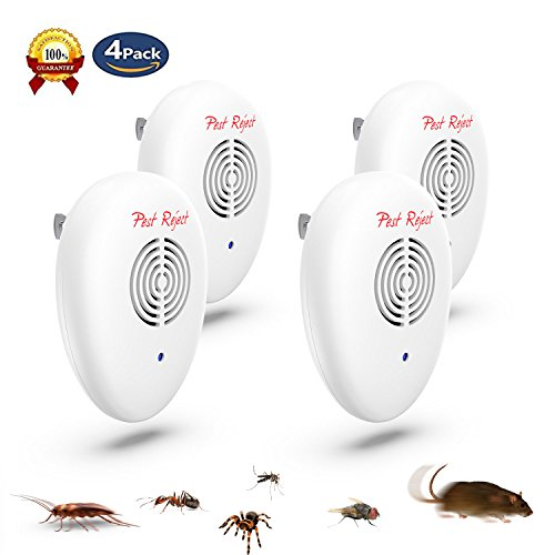 NEW 2018 Ultrasonic Pest Repeller(4-Pack)-Electronic Pest Control Plug In-Pest Repeller for Insect for Indoor and Outdoor,Repellent For Mice,Mosquitoes,Cockroaches,Ants,Rodents, Flies,Spiders,Bugs