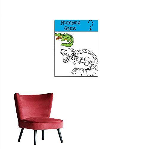 - longbuyer Wall Picture Decoration Educational Games for Kids Numbers Game Little Cute Alligator Mural 16