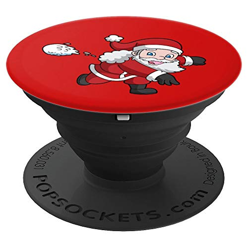 Santa Snowball (Christmas Santa Claus Snowball Fight Pop Socket - PopSockets Grip and Stand for Phones and Tablets)