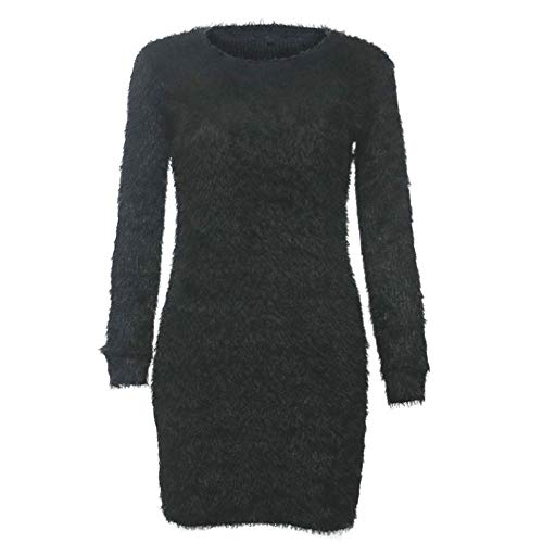 POQOQ Dress Sweater Women Long Sleeve Solid Sweater Fleece Warm Basic Short L Black