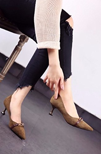 Work Heels 38 Leisure Fine Green Mouth Heel Shoes Shallow Shoes Women'S Spring MDRW Suede Single Metal Pointed Buckles Lady 6Cm Head Elegant gO4nxEf