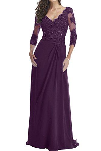 Ausschnitt Spitze Ivydressing Mutterkleid Aermeln Traube Promkleider Mit V Damen Abendkleider rRREUtx