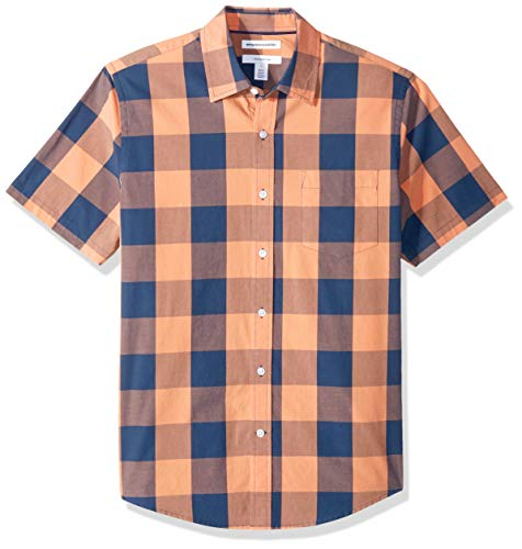 Amazon Essentials Men's Slim-Fit Short-Sleeve Check Casual Poplin Shirt, Blue/Orange Buffalo, - Orange Buffalo